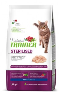 TRAINER NATURAL CAT STERILISED WHITE MEAT 1,5KG - Kurczak i Indyk
